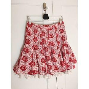 Anthro Viola Little Red Riding Godet Rose Skirt 6